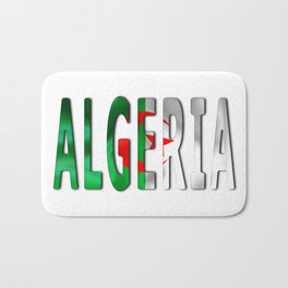 Algeria Word With Flag Texture Bath Mat