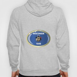 Wisconsin State Flag Oval Button Hoody