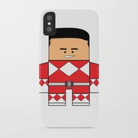 power rangers iPhone & iPod Cases featuring Mighty Morphin Power Rangers - The Original Red Ranger Unmasked (Jason) by Choo Koon Designs
