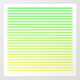 Beach Blanket - Green/Yellow Stripes Art Print