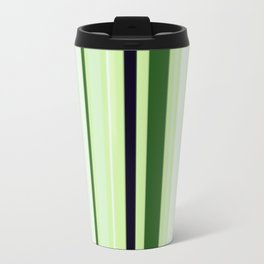 Black Light Blue and Shades of Green Stripes Metal Travel Mug