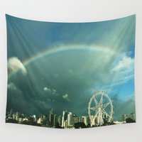 melbourne Wall Tapestries featuring Rainbow over Melbourne by Andru Valpy