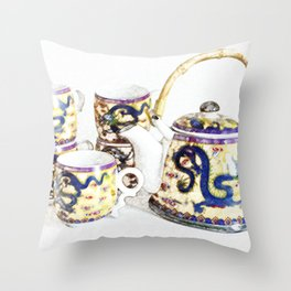 Time for tea. Delicate colors, Chinese tea set, retro look. Throw Pillow