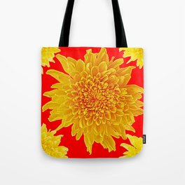 Golden Yellow Chrysanthemums Red Art Design Tote Bag