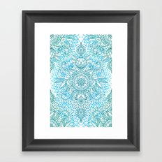 Turquoise Blue, Teal & White Protea Doodle Pattern Framed Art Print