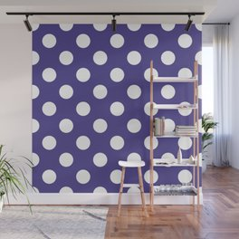 Dark slate blue - violet - White Polka Dots - Pois Pattern Wall Mural