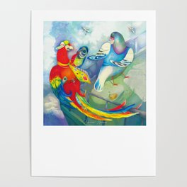 birds on the roof illustration Poster