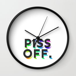 Piss Off Rainbow Shadow Wall Clock