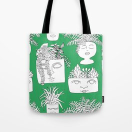 Illustrated Plant Faces in Kelly Green Tote Bag