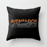 lamborghini Throw Pillows featuring Lamborghini Aventador by Vehicle