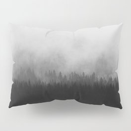 Minimalist Modern Black And white photography Landscape Misty Black Pine Forest Watercolor Effect Sp Pillow Sham