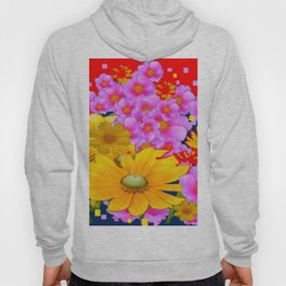 RAZZLE-DAZZLE FLORALS IN RED-TEAL COLOR Hoody