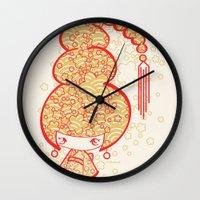 bon iver Wall Clocks featuring Bon Bon Girl - Flowers by Modondi