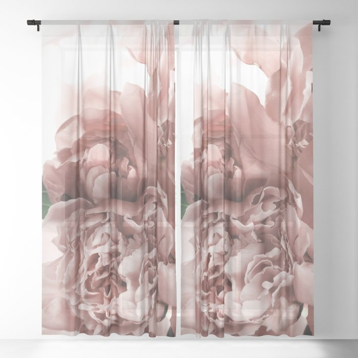Blush Pink Floral Sheer Curtain
