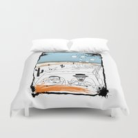 fear and loathing Duvet Covers featuring Fear and Loathing in Albuquerque II by Evan