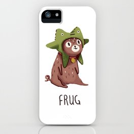 Pug in a frog costume.. Frug. iPhone Case
