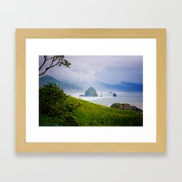 Haystack Rock in Cannon Beach, Oregon from Ecola State Park Framed Art Print