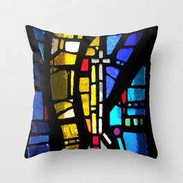 Stained Glass with Cross Throw Pillow
