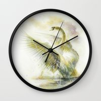 swan queen Wall Clocks featuring Swan by beart24