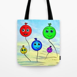 Happy colorful balloons flying in the sky Tote Bag