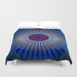 Mandala Sunrise in Maroon and Blue Duvet Cover
