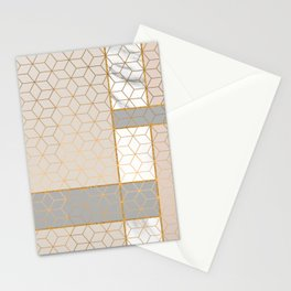 Golden Pastel Marble Geometric Design Stationery Cards