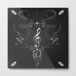Clef with floral elements Metal Print