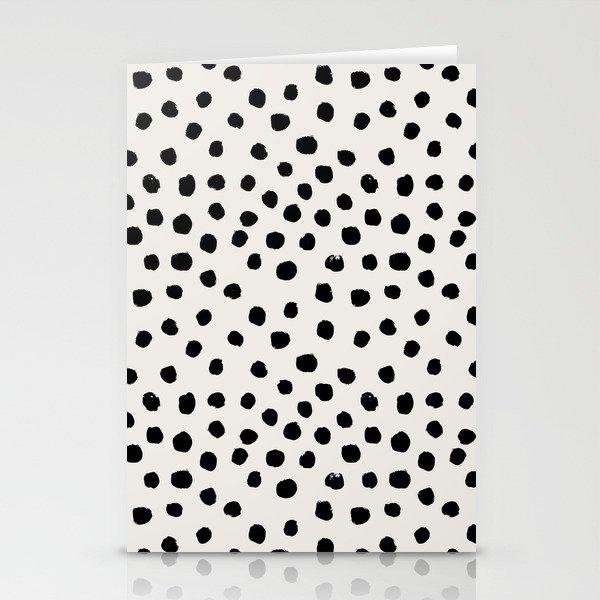 Preppy brushstroke free polka dots black and white spots dots dalmation animal spots design minimal Stationery Cards