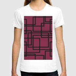 Retro Modern Black Rectangles On Fucshia Rose T-shirt