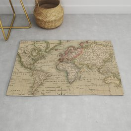 Vintage Map of The World (1814) Rug