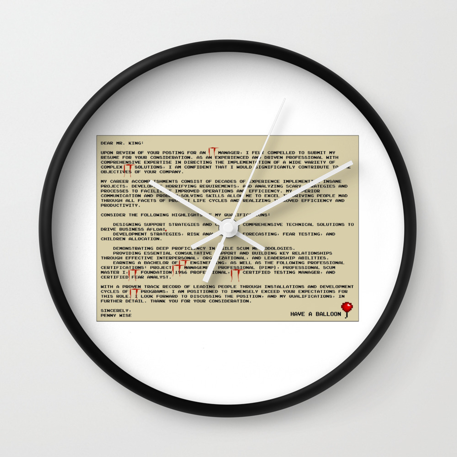 IT Manager Cover Letter Wall Clock