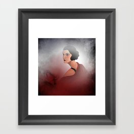 the woman in red - with rosebud Framed Art Print
