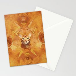 Abyssinian Cat Sacred Geometry Digital Art Stationery Cards