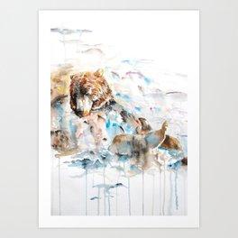 Swimming Bear Art Print