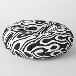 Asymmetry collection: black and white dynamic waves Floor Pillow
