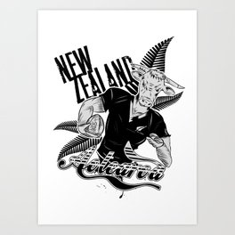 Rugby Cow Art Print