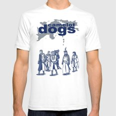 Camelot Dogs White SMALL Mens Fitted Tee