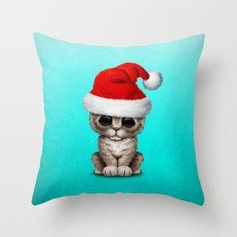 Christmas Kitten Wearing a Santa Hat Throw Pillow