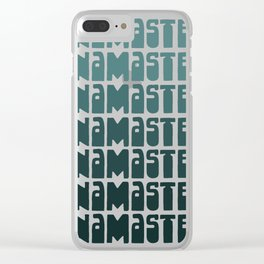Namaste, Repeat. Cheerful Chill Yoga Design in Teal Gradient with Retro Lettering Clear iPhone Case