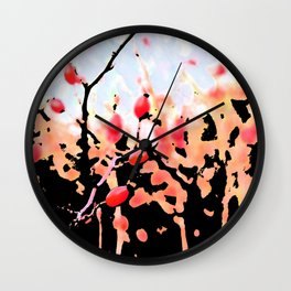 rosehip and blue sky Wall Clock