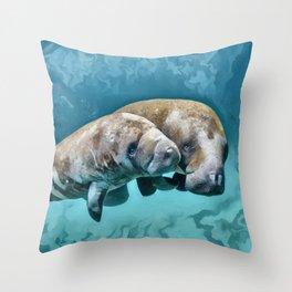 Manatees Throw Pillow