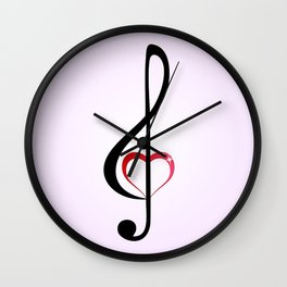 Heart music clef Wall Clock