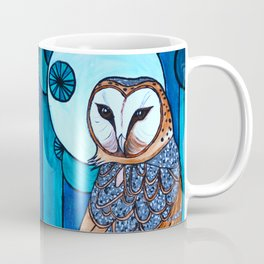 Barn Owl Art Nouveau Panel in blue Coffee Mug