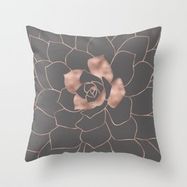 Rosegold  blossom on grey - Pink metal - effect flower Throw Pillow