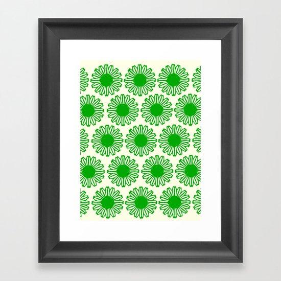 vintage flowers green Framed Art Print