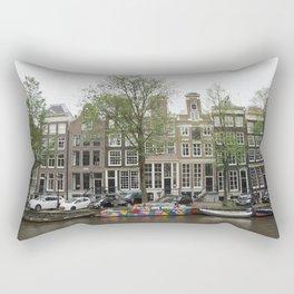 Abstract Amsterdam Boat Art Rectangular Pillow