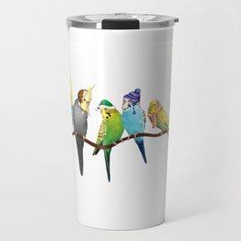 Winter Parakeets & Cockatiels Travel Mug