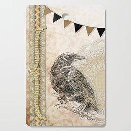 Crow, Brown Banner, Doily, Digital Design Cutting Board