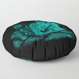 Wolf and Raven in the Night Floor Pillow