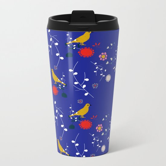 Bird and blossom electric blue Metal Travel Mug